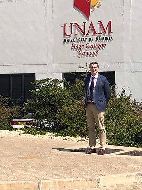 Dr Thomas Hilton outside the University of Namibia Medical campus