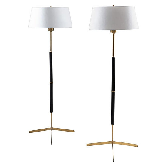 Scandinavian Midcentury Floor Lamps in Brass and Wood by Bergboms, Sweden