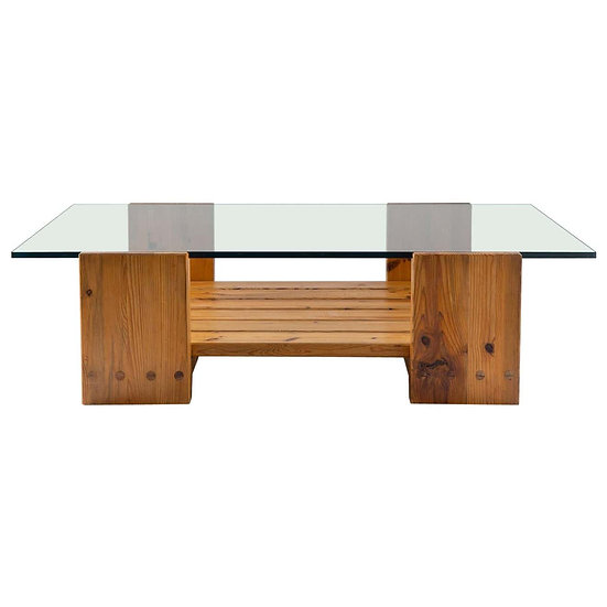 Scandinavian Coffee Table in Pine and Glass by Sven Larsson