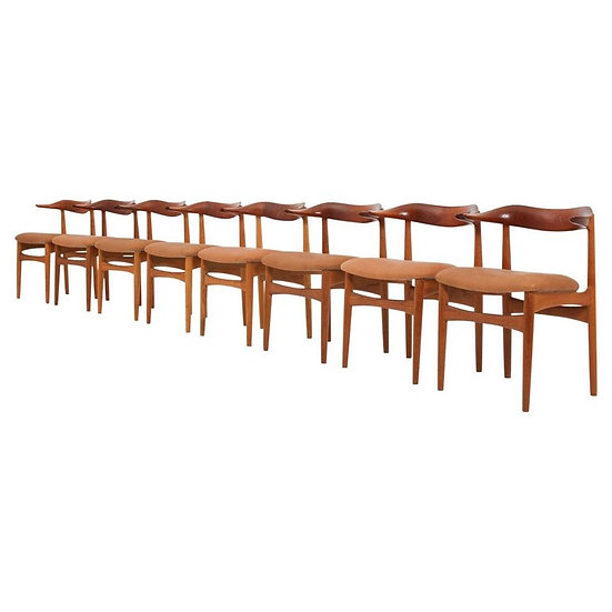 """Set of Eight Danish Dining Chairs """"Cowhorn Chair"""" by Knud Faerch"""