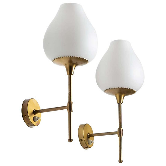 Pair of Swedish Midcentury Wall Lamps by Alf Svensson for Bergboms
