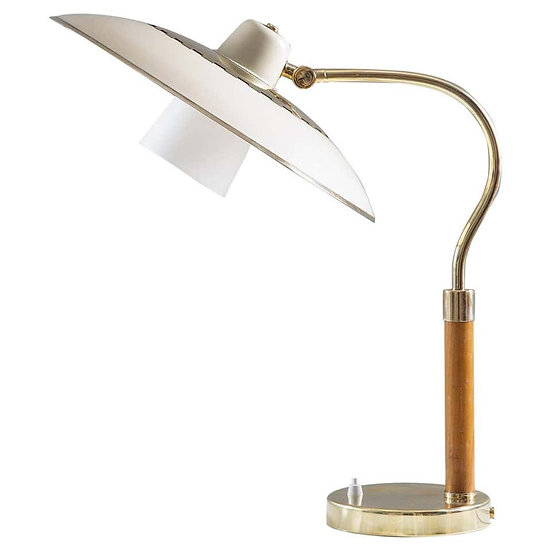 Swedish Midcentury Table Lamp in Brass, Glass and Wood, 1940s