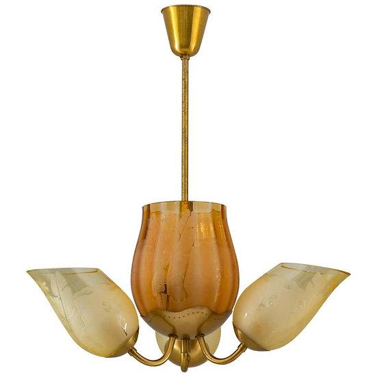 Swedish Modern Chandelier in Brass and Glass by Glössner