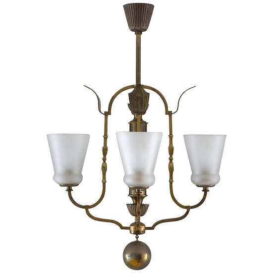 Swedish Grace Chandelier in Glass and Brass