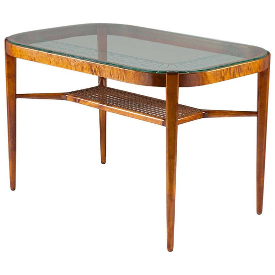 Swedish Modern Coffee Table in Birch, Glass and Rattan by Bodafors, 1940s