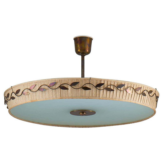 Scandinavian Midcentury Ceiling Lamp in Brass and Glass by Hans Bergström