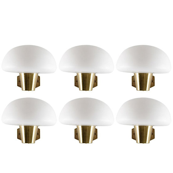 Swedish Midcentury Wall Lamps in Brass and Opaline Glass