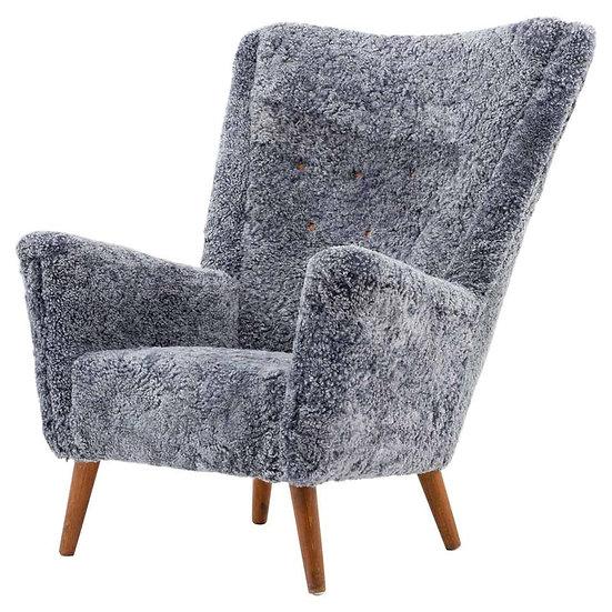 Danish Midcentury Lounge Chair in Sheepskin