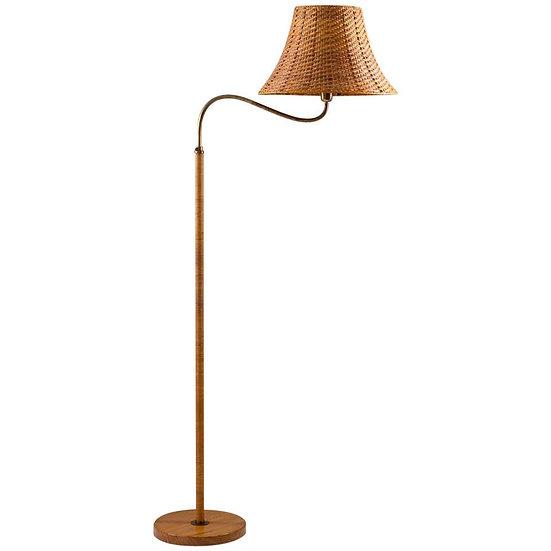 Swedish Modern Midcentury Floor Lamp in Brass and Rattan, 1940s