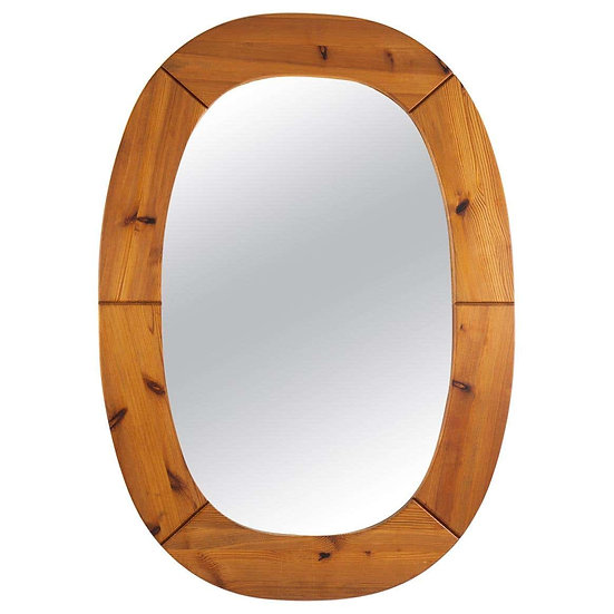 Oversized Swedish Mirror in Pine, by Glasmäster Markaryd