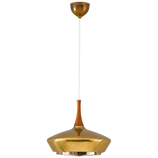 Swedish Pendant in Wood and Perforated Brass by Fagerhult