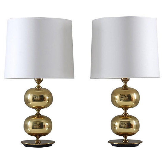 Swedish Midcentury Table Lamps in Brass by Stilarmatur Tranås