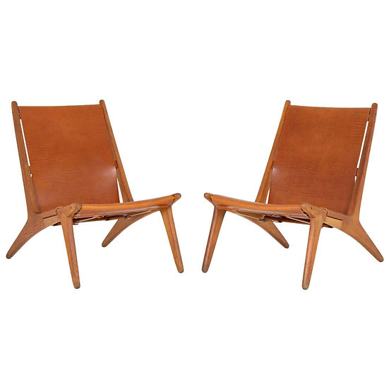 Pair of Rare Hunting Chairs 204 by Uno & Östen Kristiansson for Luxus, Sweden