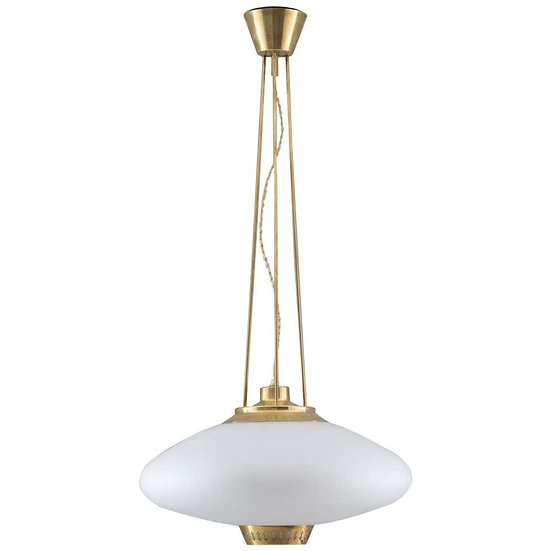 Swedish Midcentury Pendant in Brass and Glass by Hans Bergström for ASEA