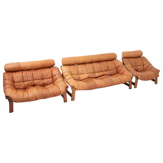 Percival Lafér-Style Sofas and Lounge Chair in Cognac Leather