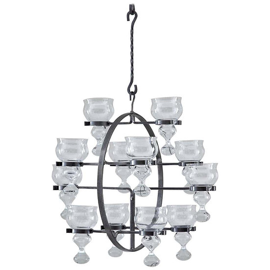 Swedish Iron and Glass Hanging Candelabra / Chandelier by Bertil Vallien