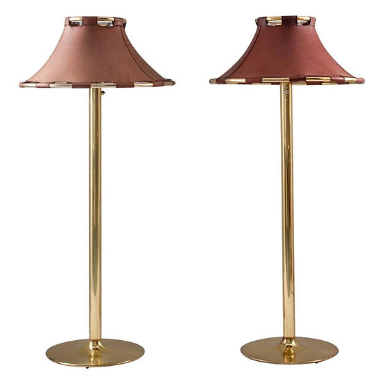 "Floor Lamps in Brass and Leather Model ""Anna"" by Anna Ehrner for Ateljé Lyktan"