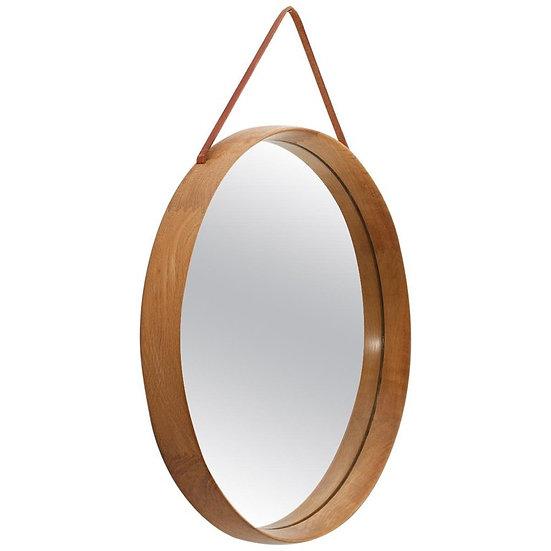 Round Swedish Midcentury Mirror in Oak by Uno & Östen Kristiansson for Luxus