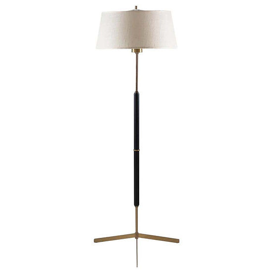 Scandinavian Midcentury Floor Lamp in Brass and Wood by Bergboms, Sweden