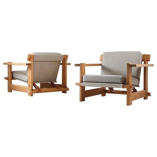 Pair of Scandinavian Lounge Chairs in Pine, 1970s