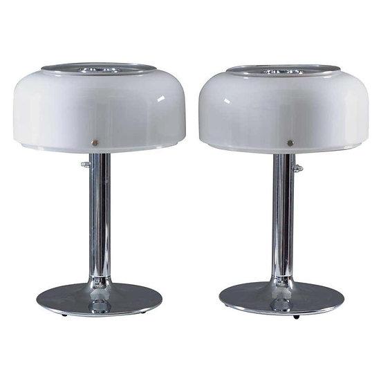 "Pair of ""Knubbling"" Table Lamps in Chrome and Acrylic by Ateljé Lyktan"