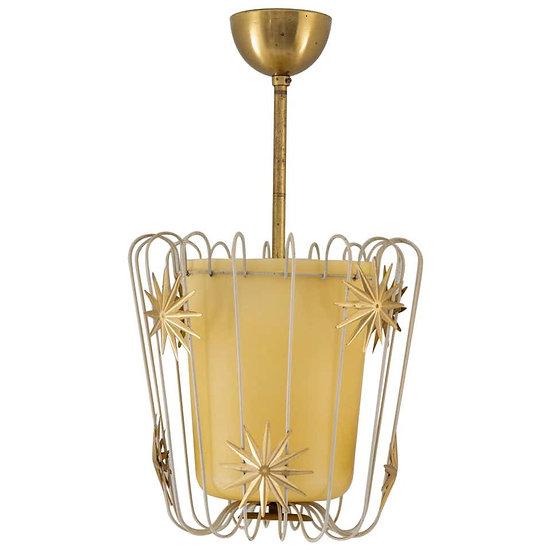 Scandinavian Midcentury Pendant in Brass and Glass, Swedish Modern, 1940s