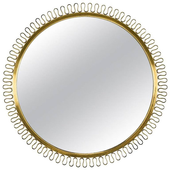 Swedish Midcentury Round Brass Mirror in the Manner of Josef Frank