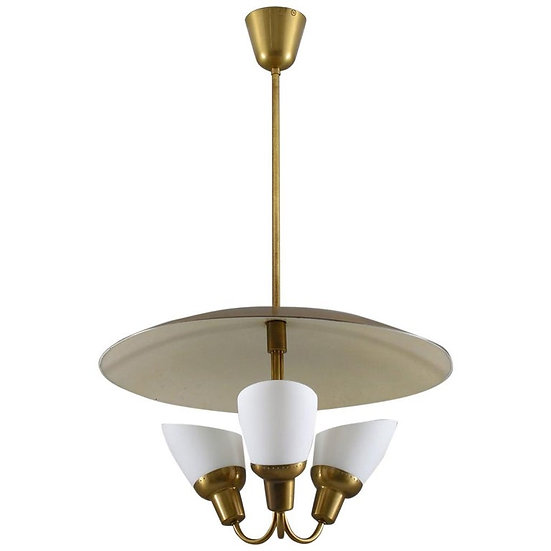 Scandinavian Midcentury Pendant in Brass and Glass By Bjørn Engø for AWF