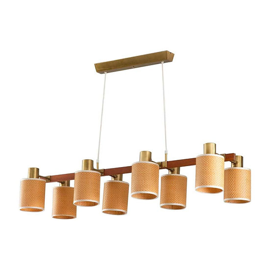 Swedish Midcentury Ceiling Lamp by Hans Bergström in Brass, Teak and Rattan