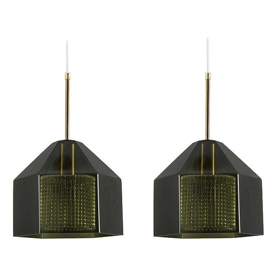 Pair of Swedish Midcentury Pendants by Carl Fagerlund for Orrefors