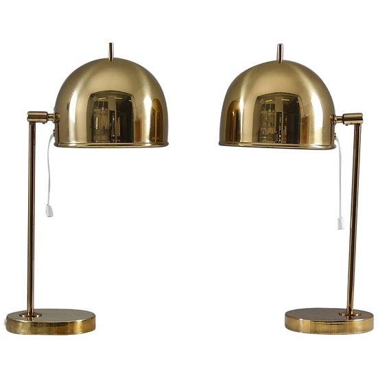 Midcentury Table Lamps in Brass by Eje Ahlgren for Bergboms, Sweden
