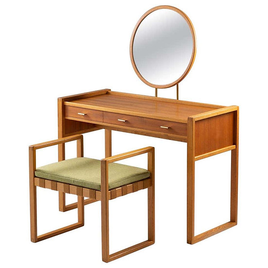 Swedish Vanity Table in Teak, Oak, and Brass by AB Nybrofabriken