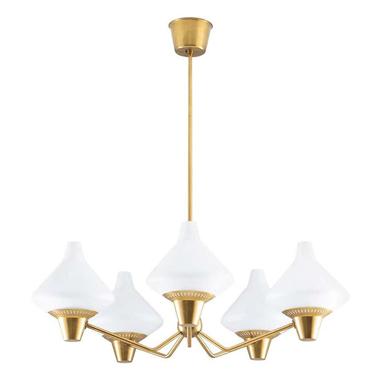 Swedish Midcentury Chandelier in Brass and Opaline Glass by ASEA