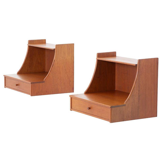 Scandinavian Midcentury Wall Mounted Bedside Tables by Carl Malmsten