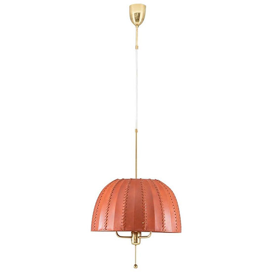 Midcentury Swedish Pendant in Brass and Leather by Hans-Agne Jakobsson