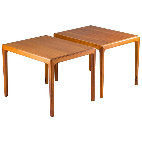 Pair of Swedish Mid Century Side Tables in Walnut by Bertil Fridhagen