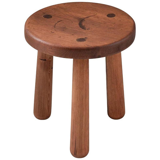 "Swedish Stool in Pine, Model ""Utö"" by Axel Einar Hjorth"