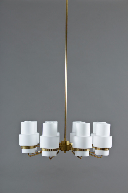 Swedish chandeliers 1st modern scandinavian modern design stunning chandeliers in brass and frosted opaline glass these chandeliers are rare and might have been custom made possibly manufactured by asea mozeypictures Choice Image