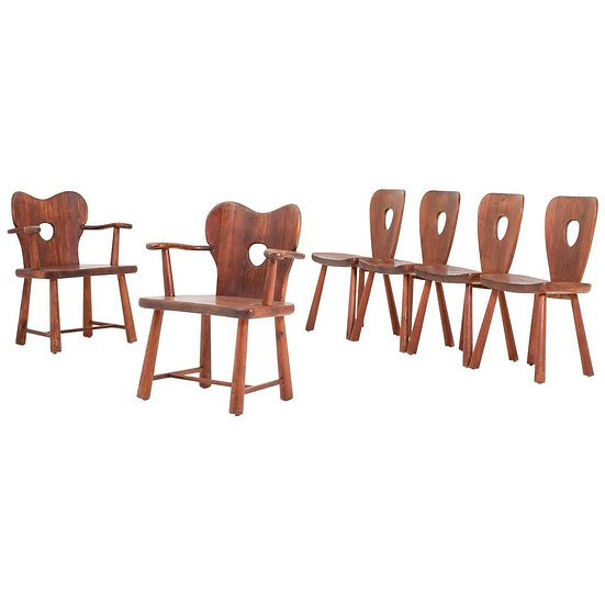 Scandinavian Dining Chairs in Pine by Bo Fjaestad, 1930s