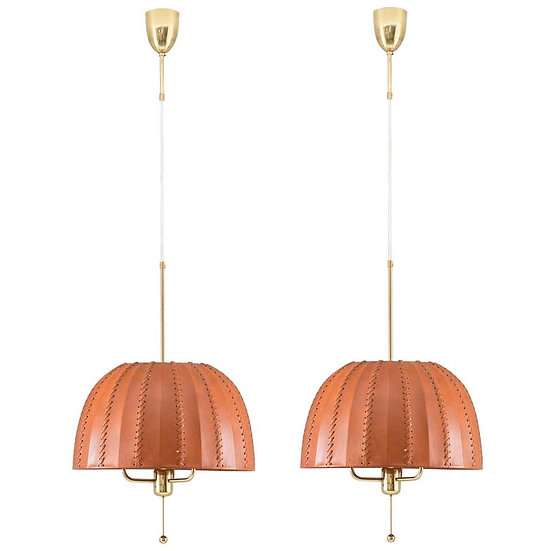 Midcentury Swedish Pendants in Brass and Leather by Hans-Agne Jakobsson