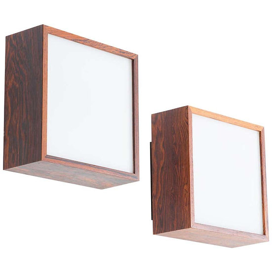 Pair of Wall Lamps / Sconces in Rosewood and Glass, by Falkenbergs, Sweden
