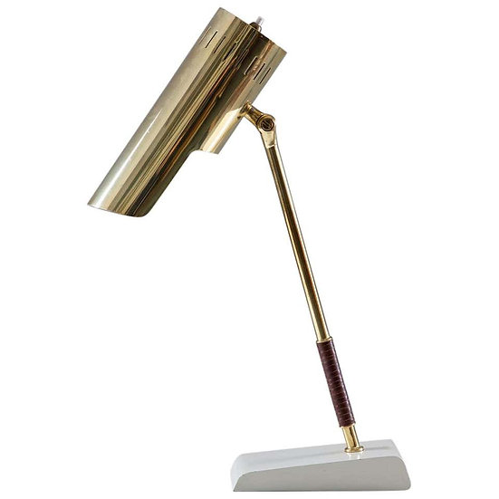 Swedish Midcentury Table Lamp in Leather and Brass by Boréns