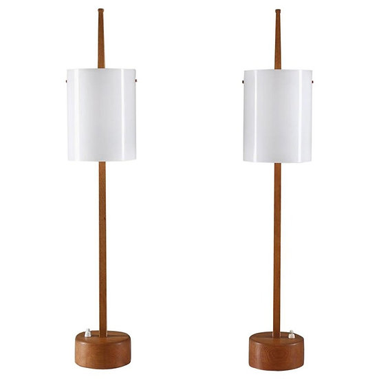 Swedish Midcentury Table Lamps in Acrylic and Oak by Luxus, 1960s