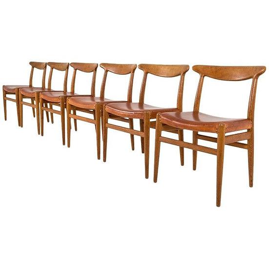 Set of Six Danish Dining Chairs W2 by Hans J. Wegner