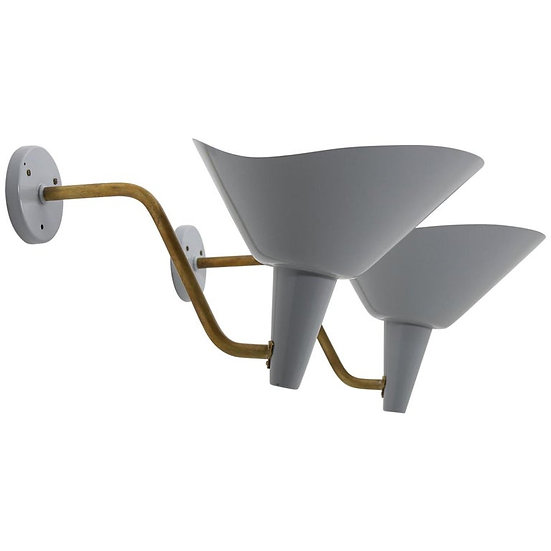Swedish Wall Lamp in Brass and Metal by Hans Bergström for Ateljé Lyktan