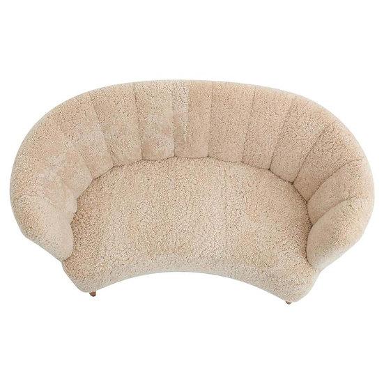 Curved Sheepskin Sofa / Loveseat 1940s, Denmark