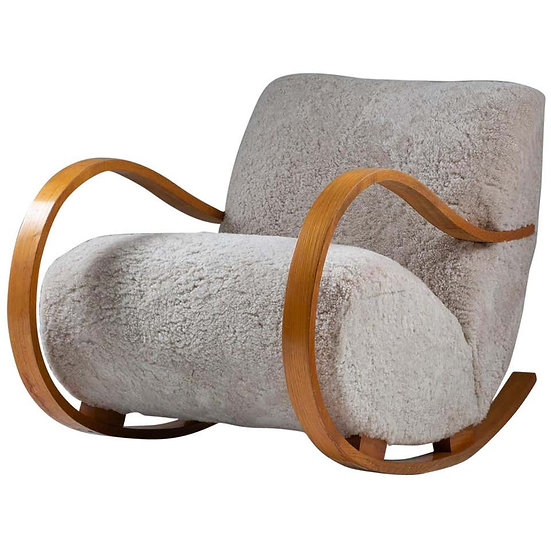 Swedish Midcentury Sheepskin Rocking Chair attributed to Gemla