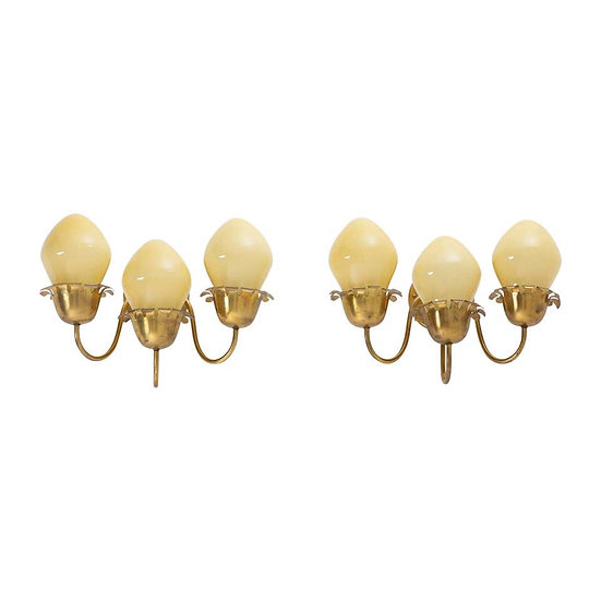 Swedish Modern Wall Sconces in Brass and Glass