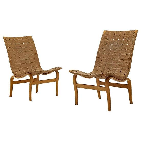 "Scandinavian Easy Chairs ""Arbetsstolen"" by Bruno Mathsson, 1940s"