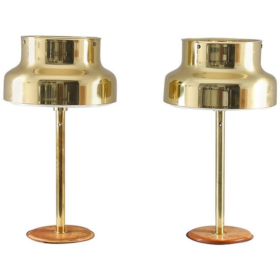"""Pair of """"Bumling"""" Table Lamps in Brass and Leather by Ateljé Lyktan"""